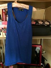 ブルーラメタンク付き黒オシャレTシャツ半袖