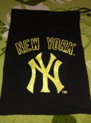 ヤンキース☆金デカロゴ!スウェット素材巾着袋!B系ローギャル
