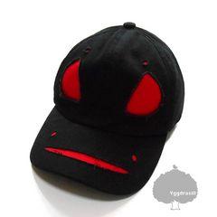 YGG★新品 ゴースト キャップ 帽子 おばけ 黒×赤 FREE