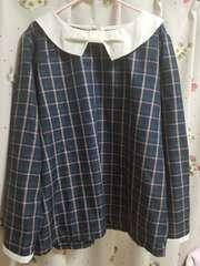 大きいサイズ 襟リボン♪グリーンチェックブラウス☆4L