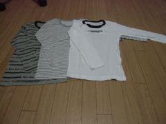 【新品】長袖丸首シャツ3枚組130�p