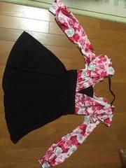 新品!激可愛☆姫系花柄切り替えワンピ☆ピンク系・L