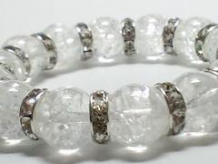 爆裂クラック水晶クリスタルx銀ロンデル12ミリ