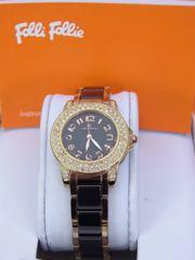 【即買い】フォリフォリ ピンクゴールド×黒 女性用 クォーツ時計 WF9B020★dot