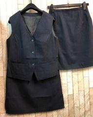 新品☆11号お仕事ベストスーツ同スカート2枚付き!紺☆n305