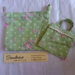 ハンドメイド♪グリーン・花柄♪ポーチ&ミニ手提げバッグセット♪コスメポーチなどに♪