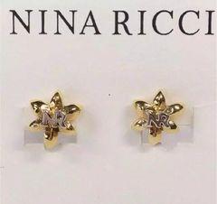 NINA RICCIニナリッチ ロゴ入りフラワーイヤリング Gold