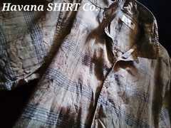 【Havana Shirt Co.】Vintage Washed カジュアルリネンシャツ(麻)M/Green
