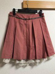 ★OLIVE des OLIVE ピンク×裾レース プリーツスカート★