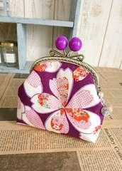 和柄*桜模様*candy大玉*くし型がま口の小物入れ*紫