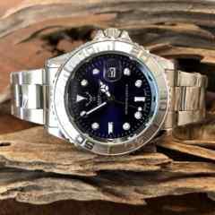 最安値!ロレックス★ヨットマスタータイプ◇クォーツ メタル腕時計・ネイビー×シルバー