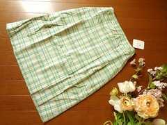 新品Tip Tip黄緑水色チェック柄ボックスプリーツスカートS