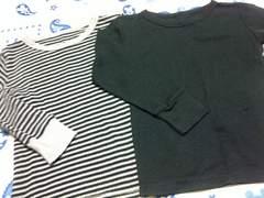 美品男の子用ワッフル生地長袖インナーシャツサイズ110�p2枚セット