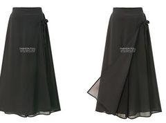 新品☆シフォン♪ラップ風♪綺麗パンツ ブラック