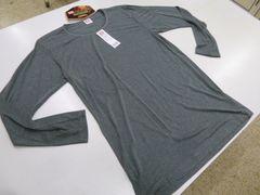 �D(LL灰)BVD★クルーネック長袖Tシャツ GR047HS 丸首吸湿発熱薄手帯電