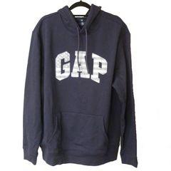 新品M★GAP紺色星条旗ロゴ裏起毛パーカー