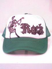 新品◆ロック◆メッシュキャップ◆スカルギター◆緑×白◆