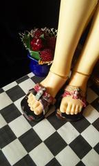 【SD】古典和柄(黒)ぺったんこサンダル