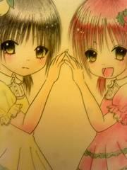 自作イラストオリジナル原画栃木県の双子少女レモンといちご