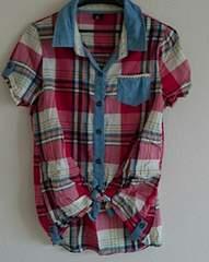 新品同様 前 縛りシャツ