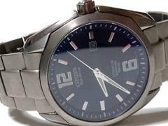 良品 1スタ★CITIZEN 太陽充電 エコドライブ 大型メンズ腕時計