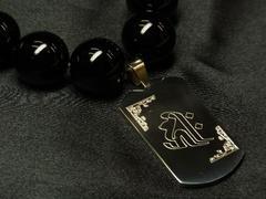 梵字彫ドッグタグ×ブラックオニキス数珠ネックレス!!オラオラ系アイテム