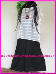 夏新作◆大きいサイズ3Lホワイト透かしチュニ×ブラックワンピ◆2点セット