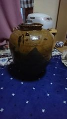 室町時代→信長公愛用 姉妹壺 唐物か星野 黄褐色釉  腰止耳飾壺