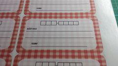 夏季sale☆9/宛名シール☆チェック赤系《10枚》