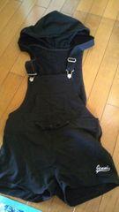 JENNIサロペットフード付ショートオール160黒