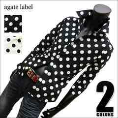 水玉ドット柄7分袖ドレスシャツ(日本製) ブラック LL