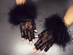 ネイルOK レースファー手袋黒(指先なし) 振袖成人式&袴・着物結婚式