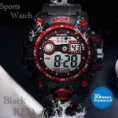 スポーツ腕時計 LED デジタル 腕時計 ミリタリー スポーツ 赤