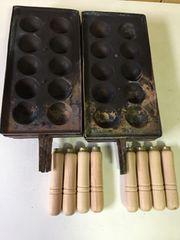 銅板 たこ焼き板 10穴 8枚セット 銅板取手付