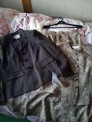 3点セットスーツ☆ジャケット&ベスト&ロングスカート☆ブラウン系 S  7号
