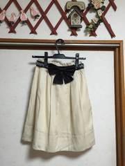 新品アプワイザー リボンベルト付きプリーツスカート1ベージュ