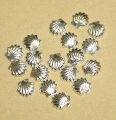 みぢょ春夏人気ネイルパーツ貝殻シェル20個セット大5�oSILVERシルバー銀