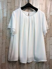 新品☆4Lきれいめ体型カバーブラウス白系シフォン半袖☆j295