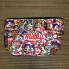ミルキー・ペコちゃん・お菓子柄台形ポーチ。