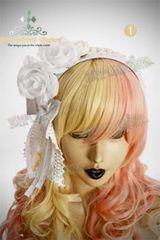 新品 ゴスロリ姫系 薔薇ヘッドドレスカチューシャ白