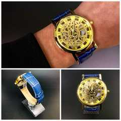 腕時計 ギリシャ文字  機械型 金フレームレザー 革ベルト 青