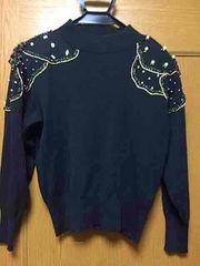 新品☆M-L☆黒にゴールド パールあったかニットセーター日本製