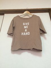 300〜美品☆ariesmirageセレクト五分袖Tシャツ M  BRN☆