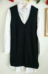 ★新品♪イーハイフンのシャツ&ニットベストのセット☆ワンピ