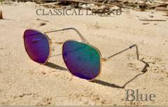 サングラス ミラー 伊達メガネ UV400 紫外線カット ブルー