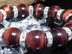 14ミリ§レッドタイガーアイ銀ロンデル赤虎目石数珠