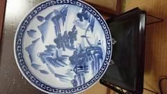 …幕末…古伊万里染付山水図…大皿