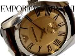 良品 1スタ★エンポリオ・アルマーニ【スモセコ搭載】大型 腕時計