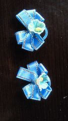 水色お花のリボン2個ゴム付き