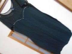 H&M*首元透け素材黒チュニックカットソーS*クリックポスト164円